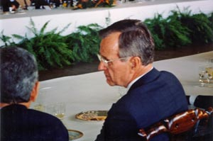 President Bush at the Leaders' luncheon at the 1992 Earth Summit in Rio de Janeiro