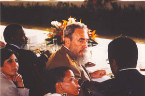 Fidel Castro at the Leaders' luncheon at the 1992 Earth Summit in Rio de Janeiro
