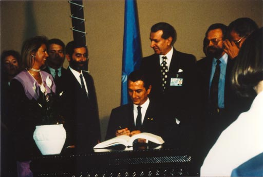The U. N. Biodiversity Convention is opened for signature by Brazilian president Fernando Collor de Mello at the 1992 Earth Summit in Rio de Janeiro