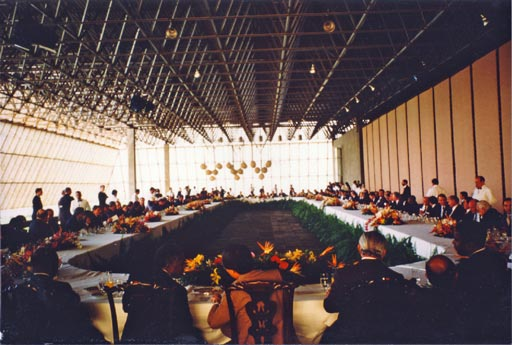 Heads of State and Government of 150 nations break bread together for the first and only time in history at the 1992 Earth Summit.  This is the only known photograph of that event.