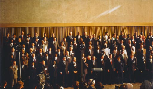 Leaders of 150 Heads of State and Government assemble for a group photograph at the 1992 Earth Summit in Rio de Janeiro