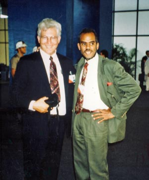 Ambassador Robert Van Lierop of Vanuatu, Chair of the Alliance of Small Island States, and Professor Davis at the 1992 Earth Summit in Rio de Janeiro